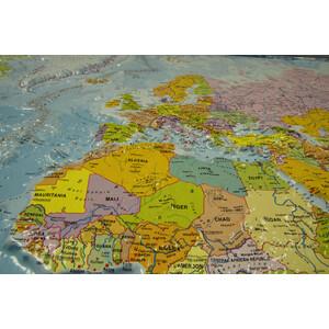 geo-institut Weltkarte Reliefkarte Welt Silver line politisch Englisch