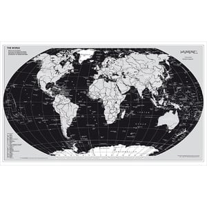 Stiefel World map, silver edition with metal strip