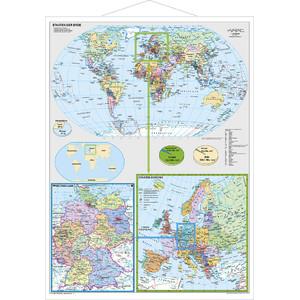 Stiefel Landkarte Deutschland und Europa in der Welt mit Metallleisten