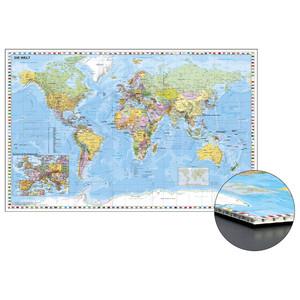 Stiefel Weltkarte mit Ausschnitt Zentraleuropa zum Pinnen auf Wabenplatte