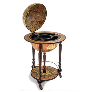 Zoffoli Globe on stand with castors and drinks compartment, Da Vinci rust