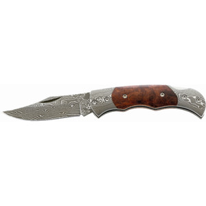 Herbertz Damascene pocket knife, root wood grip, No. 201408