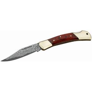 Herbertz Coltello tascabile con lama damasco, impugnatura in legno di pakka, n. 265711