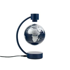 Stellanova floating globe, metallic silver and blue 10cm