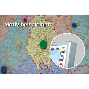 Stiefel Weltkarte politisch mit Flaggenrand (137x89) auf Platte zum Pinnen und magnethaftend