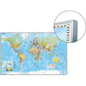 Stiefel World map on pinboard