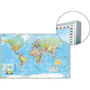 Stiefel World map on board, for pinning to, also magnetic
