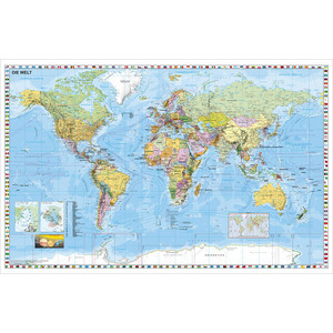 Stiefel Mappa del Mondo Planisfero – formato grande, scrivibile e lavabile – estremamente resistente, in inglese