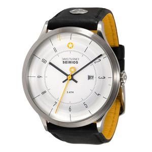 DayeTurner SEIRIOS men's analogue watch, silver - black leather strap