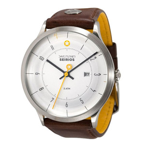 DayeTurner SEIRIOS men's silver analogue watch - dark brown leather strap