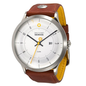 DayeTurner SEIRIOS men's analogue silver watch - light brown leather strap