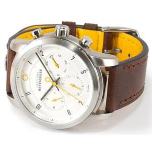DayeTurner BETELGEUZE men's analogue silver watch - dark brown leather strap