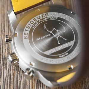 DayeTurner BETELGEUZE men's analogue watch, silver - nylon, black/yellow strap