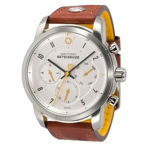 DayeTurner BETELGEUZE men's analogue watch, silver - light brown leather strap