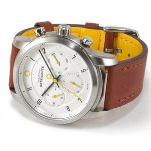 DayeTurner Reloj de caballero analógico BETEIGEUZE, plata - cuero marrón claro