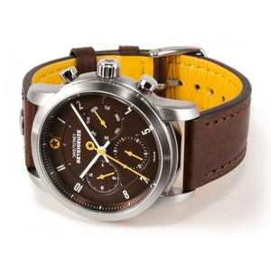 DayeTurner Reloj de caballero analógico BETEIGEUZE, plata y marrón - cuero marrón oscuro
