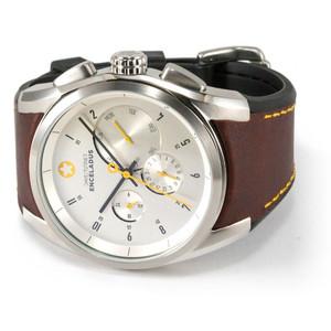DayeTurner Reloj de caballero analógico ENCELADUS, plata - cuero marrón claro