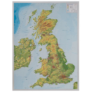 Georelief Great Britain 3D relief map with aluminium frame