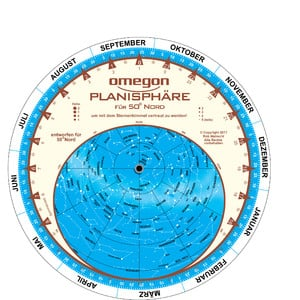 Carte du ciel Omegon Sternkarte 17,5cm / 50°