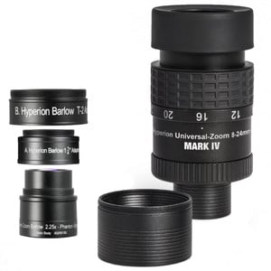 Baader Oculare zoom Hyperion Universal Mark IV + lente di Barlow zoom, set