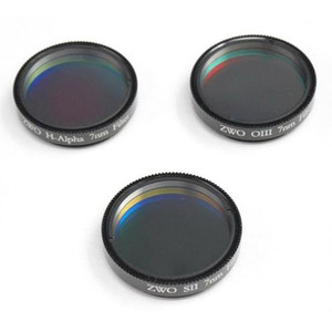 """ZWO Filters 1.25"""" filter set: H-alpha, SII, OIII"""
