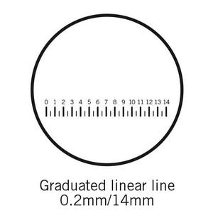 Motic reticolo con scala graduata (14 mm in 70 divisioni), (Ø 25 mm)
