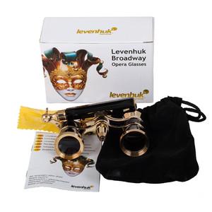 Levenhuk Opernglas Broadway 3x25 schwarz mit Lorgnette und LED-Licht
