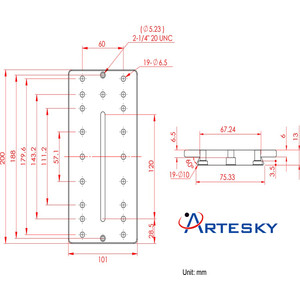 Artesky Montageplatte Losmandy-Style 200mm