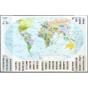 Idena Landkarte Schreibtischunterlage Weltkarte mit Einstecktaschen
