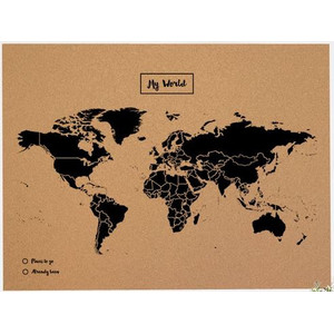 Mappemonde Miss Wood Woody Map Natural Cork Political XL black