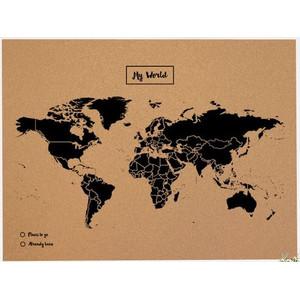 Miss Wood Mappa del Mondo Woody Map Natural Cork Political XL black