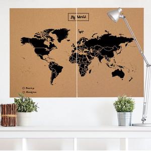 Mappemonde Miss Wood Woody Map Natural political cork world map XXL black
