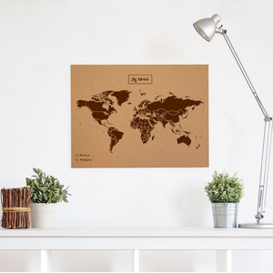 Miss Wood Mappa del Mondo Woody Map Natural Cork L brown