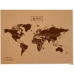 Miss Wood Mappa del Mondo Woody Map Natural Political Cork World Map XL brown