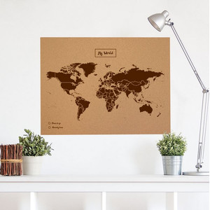 Mappemonde Miss Wood Woody Map Natural Political Cork World Map XL brown