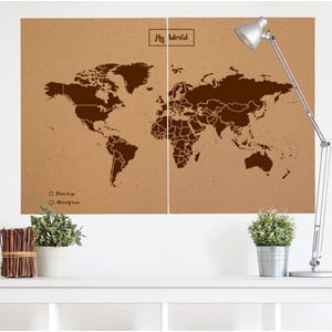 Miss Wood Mappa del Mondo Woody Map Natural political cork world map XXL brown