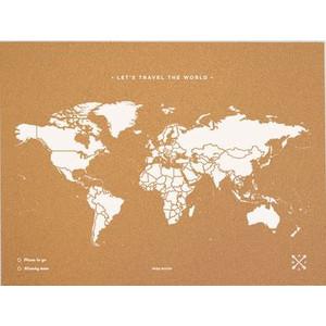 Miss Wood Mappa del Mondo Woody Map Natural Cork L white