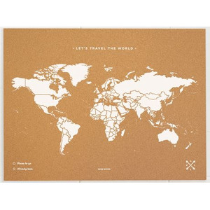 Miss Wood Mappa del Mondo Woody Map Natural Political World Map XL white