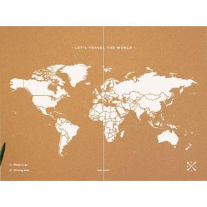 Miss Wood Woody Map Natural Cork XXL white
