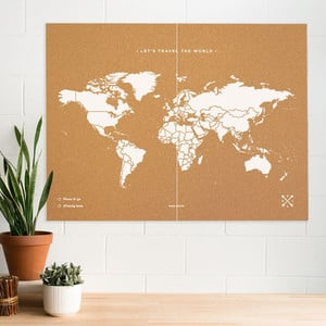 Miss Wood Mappa del Mondo Woody Map Natural Cork XXL white