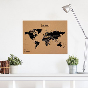 Mapamundi Woody Map Natural Weltkarte Kork L schwarz