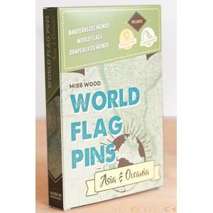 Miss Wood World Flag Pins Markierungsfahnen Asien & Ozeanien 25 Stück