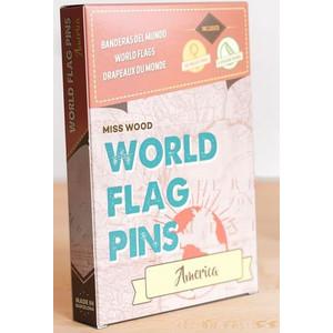 Miss Wood World Flag Pins Markierungsfahnen Amerika 25 Stück