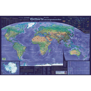 Planet Poster Editions Poster Weltkarte mit Originalschriften