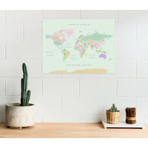 Miss Wood Mappa del Mondo Woody Map Watercolor Retro L