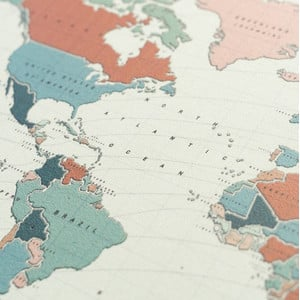 Miss Wood Mappa del Mondo Woody Map Watercolor Terracotta L