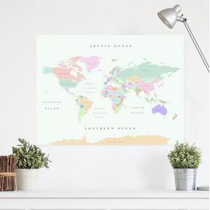 Miss Wood Mappa del Mondo Woody Map Watercolor Retro XL