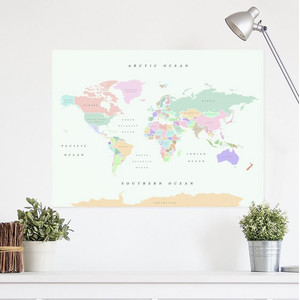 Miss Wood Weltkarte Woody Map Watercolor Retro XL