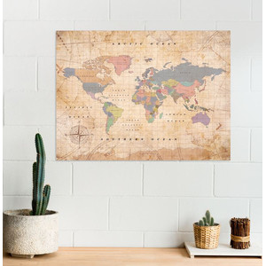 Miss Wood Weltkarte Woody Map Watercolor Old School XL