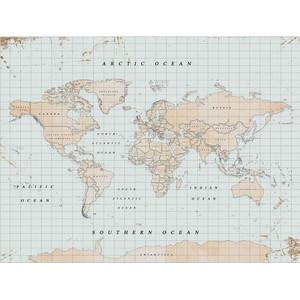 Miss Wood Weltkarte Woody Map Watercolor Vintage XL